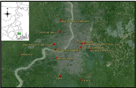 Map showing the Study Area [Inset: Map of West Bengal with study area marked with green]