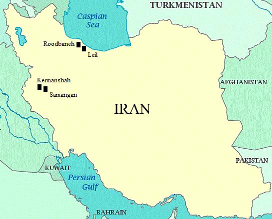 Map of Iran depicting the sampling sites