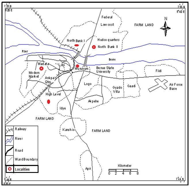 Map of Makurdi Showing the Study Localities (Ministry of Lands and Survey Makurdi, 2012