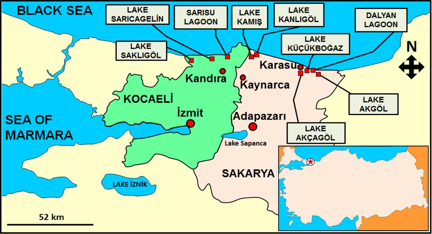 Sampling sites in Sakarya and Kocaeli Provinces
