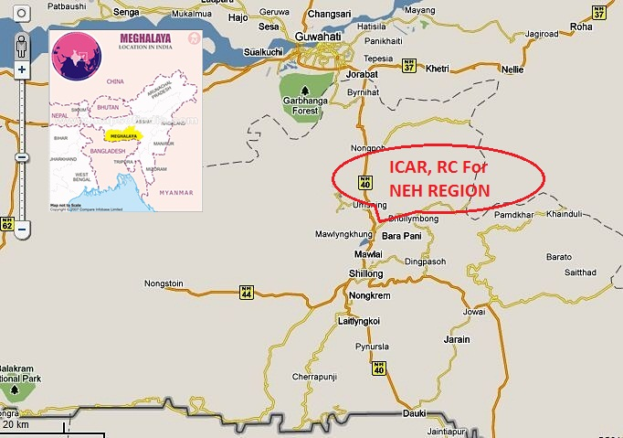 Location map of ICAR, Research Complex for NEH Region, Meghalaya, India