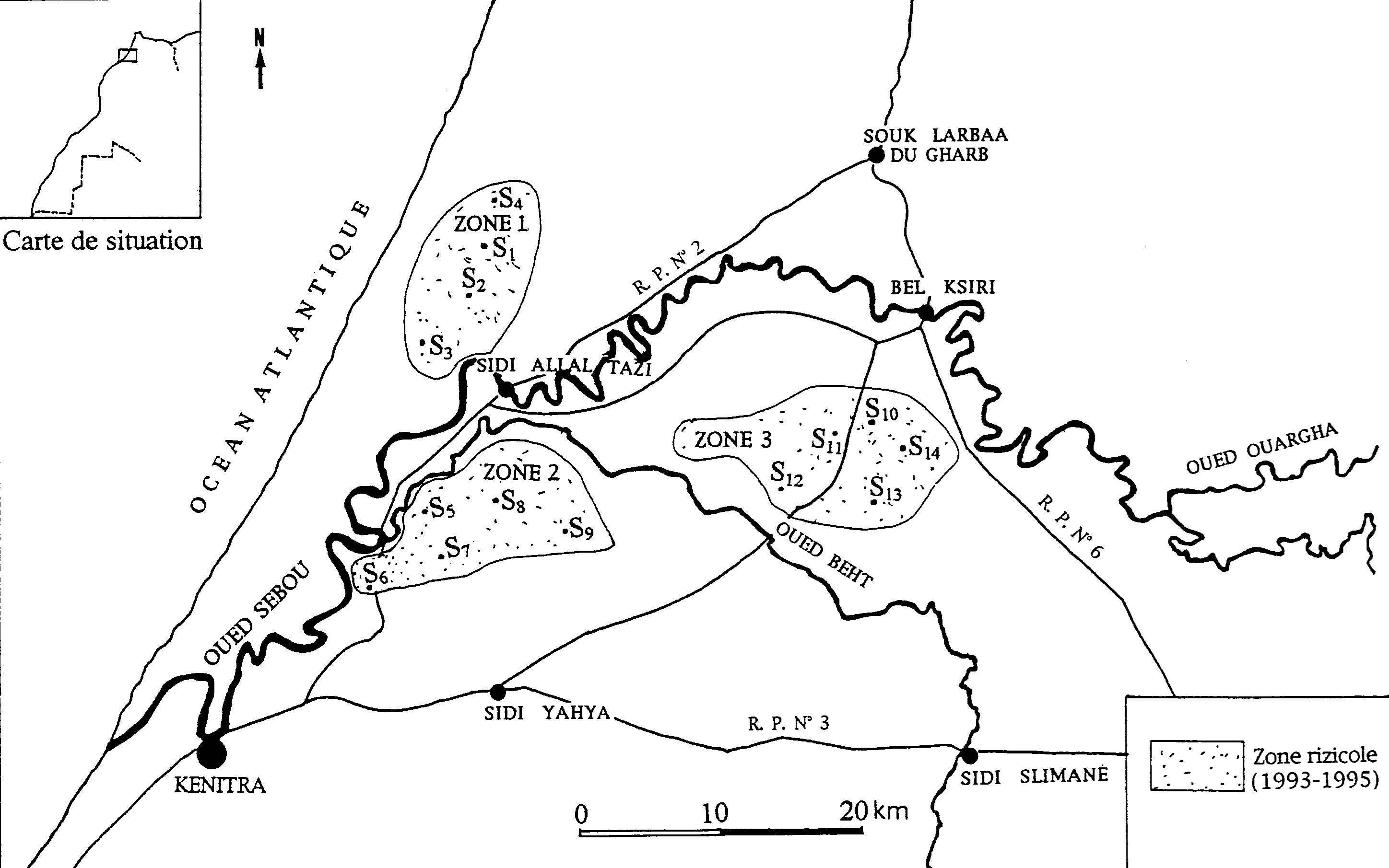 Location of the sampling stations in Moroccan ricefields