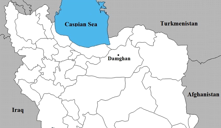 Map showing the sampling site (Damghan County) in northern Iran