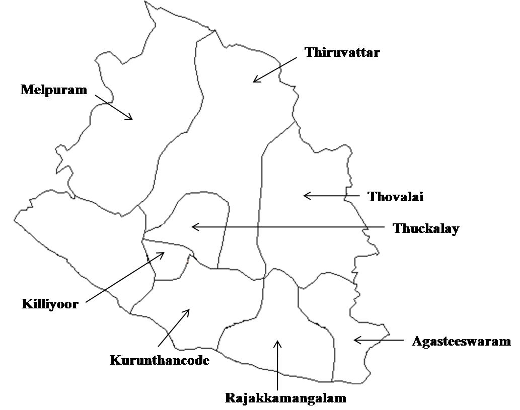 Sampling locations of rice stem borer in Kanyakumari District