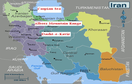 Caspian Sea, Alborz mountain range and Dasht-e-Kavir in Iran map.