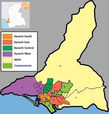 Location map of Study areas (Karachi urban) Sindh Pakistan