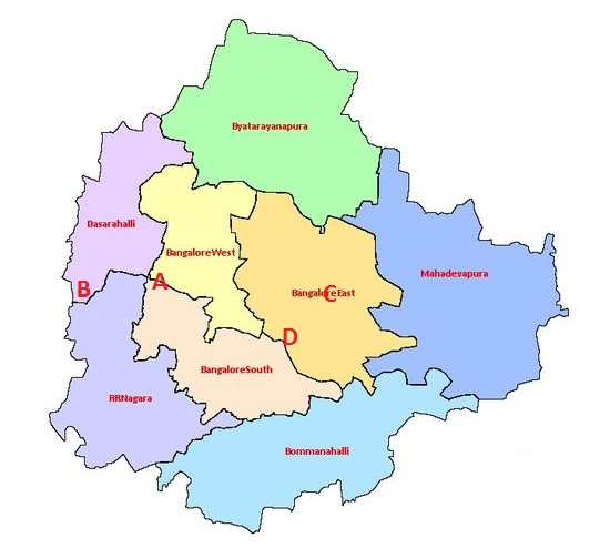 Distribution of collection points in Bangalore.