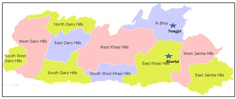 Collection sites of rice thrips in Khasi Hills