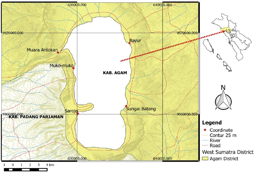 Location of study area in the Maninjau Lake