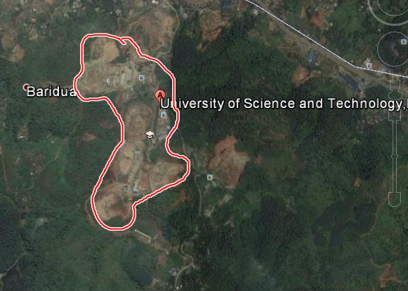 Showing the map of USTM campus, Meghalaya where study was carried out.